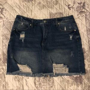 Wild Fable distressed jean mini skirt. Size 14